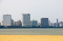 View of mumbai skyline by the sea india Royalty Free Stock Photography