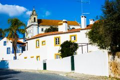 Church in Constancia Portugal. A view of the municipality of Constancia in Ribatejo province, Santarem district in Portugal, with whitewashed houses and a small Royalty Free Stock Photography