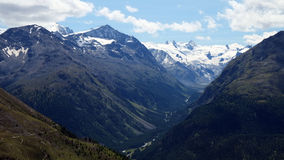 View from Muottas Muragl (Engadin, Switzerland) towards Val Roseg Royalty Free Stock Photo