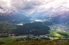 View from Muottas Muragl, Switzerland Stock Photo