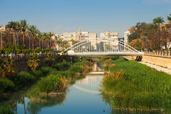 View of Murcia. Segura river and Puente del Hospital Stock Images