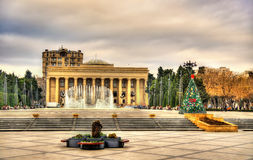 View of Museum Centre and musical fountain in Baku stock photo