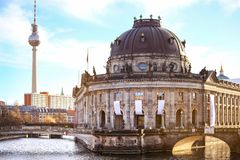 View of the Museum island on Spree river and TV tower in Germany stock photo