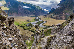 View from The Mushroom rocks. To the valley of Chulyshman river Royalty Free Stock Photography