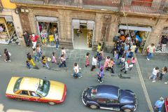 Street animation in Mexico City. View from my hotel room, street animation at the opening of the stores in Mexico City old quarter Royalty Free Stock Image