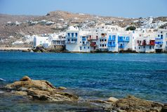 View of Mykonos. Little Venice, Mykonos Island, Greece Royalty Free Stock Photo