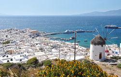 View of Mykonos. View of the town of Mykonos and the old harbor Royalty Free Stock Photos