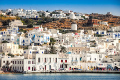 View of Mykonos in Greece from the ferry Stock Photos