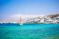 View of the Mykonos town harbor from the above hills in Mykonos, Cyclades, Greece stock photography