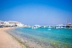 View of the Mykonos town harbor in Mykonos, Cyclades, Greece stock image