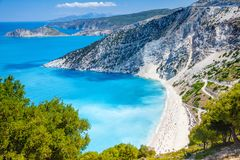 Myrtos beach, Kefalonia, Greece stock photos