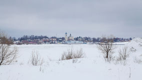 View of Myshkin town. From other bank of Volga river in winter Stock Image