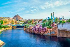 CHIBA, JAPAN: View of Mysterious Island from Mermaid Lagoon in Tokyo Disneysea located in Urayasu, Chiba, Japan. View of Mysterious Island from Mermaid Lagoon in stock image