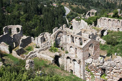 View of Mystras. Mystras - the former capital of the despot Morea Royalty Free Stock Photo