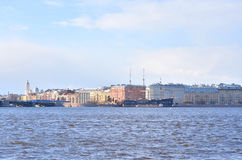 View of Mytninskaya quay on Petrograd side. Royalty Free Stock Image