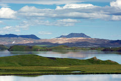 View of the Myvatn lake area with mountains, craters and lava co Stock Photography