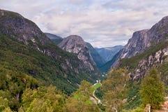 View on Naeroydalen valley from Stalheim, Norway Stock Photos