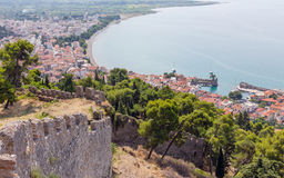 View of Nafpaktos town from the castle, Greece Stock Image