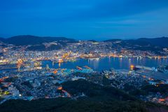 View of Nagasaki city skyline from Mount Inasa at night in Japan Stock Photos