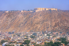 View of Nahargarh Fort and Jaipur city below in Rajasthan, India Royalty Free Stock Photos