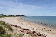 View of Nairn Central beach on a bright summers day. royalty free stock image