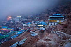 View on Namche Bazar, Khumbu district, Himalayas. Nepal Royalty Free Stock Image