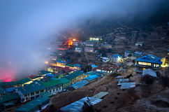 View on Namche Bazar, Khumbu district, Himalayas, Nepal. View on Namche Bazar at night, Khumbu district, Himalayas, Nepal Royalty Free Stock Images
