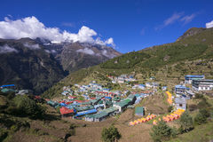 View on Namche Bazar in sunny day, Khumbu district, Nepal. Stock Images