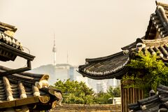 View of Namsan tower from Bukchon Hanok Village, Seoul, South Korea