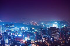 View from Namsan tower on Seoul city at night - South Korea Royalty Free Stock Photography