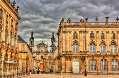 View of Nancy Cathedral from the Place Stanislas Stock Photos