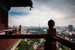 View from Nanjing Yuejianglou Tower (River Watchtower). In Nanjing, Jiangsu Province, China.  The tower is beside Yangtze river Stock Photo