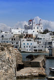 View of Naoussa - Paros. View of the town of Naoussa.  The central church can be seen on top of the hill. Paros island. Greece Royalty Free Stock Photo