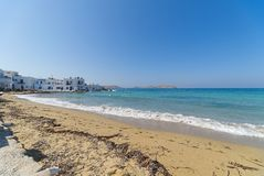 Naoussa village and beach - Aegean Sea - Paros Cyclades island - Greece. View of Naoussa village and beach - Aegean Sea - Paros Cyclades island - Greece stock images