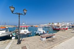 Naoussa village and harbor - Aegean Sea - Paros Cyclades island - Greece. View of Naoussa village and harbor - Aegean Sea - Paros Cyclades island - Greece stock images
