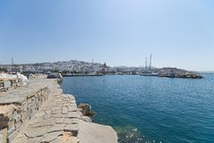 Naoussa village and harbor - Aegean Sea - Paros Cyclades island - Greece. View of Naoussa village and harbor - Aegean Sea - Paros Cyclades island - Greece stock photography