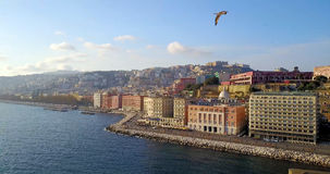 View of Naples Castle and coast, Italy. Royalty Free Stock Photography