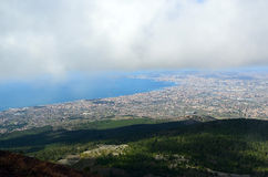 View the Naples city and clouds from the vesivius volcano in south Italy Royalty Free Stock Photo