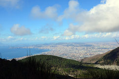 View the Naples city with cloudy sky from the vesivius volcano in south Italy Stock Photography