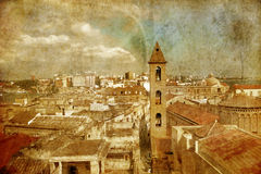 View on Naples in grunge style. Italy Stock Images