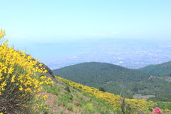 View of Naples from the height of the crater of the volcano Mount Vesuvius Stock Photos