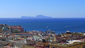 View of Naples and the island of Capri Stock Photo