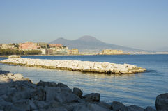 View of Naples, Italy. Stunning view of Naples and it's gulf with Vesuvio volcano royalty free stock photos