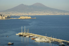 View of Naples, Italy. Stunning view of Naples and it's gulf with Vesuvio volcano stock photos