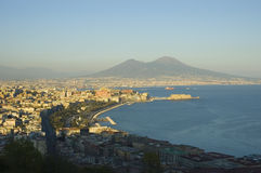 View of Naples, Italy. Stunning view of Naples and it's gulf with Vesuvio volcano stock image