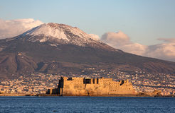 View of Naples with Vesuvius mount with snow. On the background royalty free stock photos