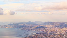 View of Naples with Vesuvius. Naples, Italy. Time stock video