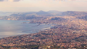 View of Naples with Vesuvius. Naples, Italy. Time Royalty Free Stock Image