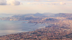 View of Naples with Vesuvius. Naples, Italy. Time stock footage