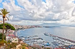 View of Naples and Vesuvius from Posillipo hill Royalty Free Stock Image